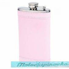 Stainless Steel 6 oz. Flask with Pink Wrap