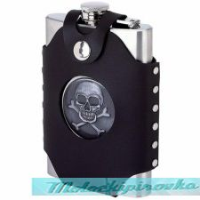 Skull & Crossbones 8 oz. Stainless Steel Flask with Sheath