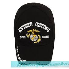 Officially Licensed Marine Embroidered Black Military Hat