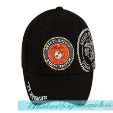 Officially Licensed Marine Patch and Embroidered Black Military Hat