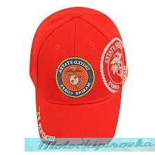 Officially Licensed Marine Patch and Embroidered Red Military Hat
