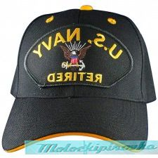 Officially Licensed Navy Patch and Embroidered Black Military Hat