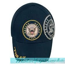 Officially Licensed Navy Patch and Embroidered Blue Military Hat