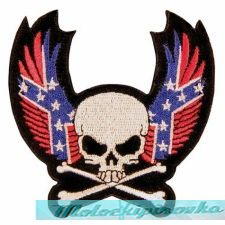Skull With Crossbone and Rebel Wings Patch