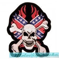Confederate Rebel Skull With Crossbone Patch