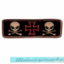 Iron Cross With Two Skulls 4.5 Inch Biker Patch