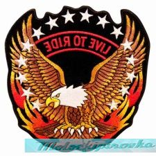 Live To Ride With Eagle And Flames On Side Patch