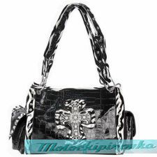 LANY Rhinestone Cross Black or White Zebra Shoulder Handbag