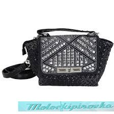 LANY Stylish Rhinestone Black Handbag