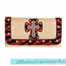 LANY Womens Lavo Series Beige or Red Tri-fold Wallet