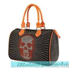 LANY Skull Rhinestones Black or Orange Handbag