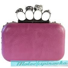Женская сумка Womens Skull Knuckle Rhinestone Lilac Clutch
