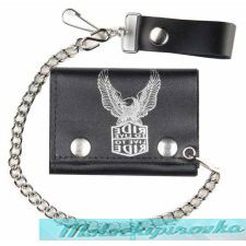Tri-fold Live To Ride Black Leather Wallet