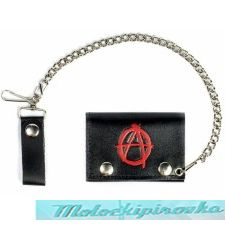 Tri-fold Anarchy Black Leather Wallet