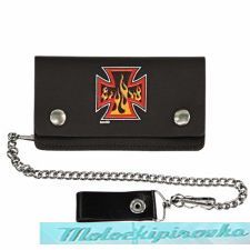 Bi-fold Leather Flammed Iron Cross Biker Wallet