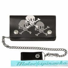Bi-fold Leather Skull and Crossbone Biker Wallet