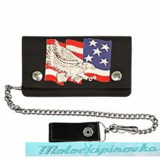 Bi-fold Leather Eagle with American Flag Biker Wallet