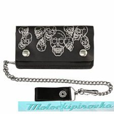 Bi-fold Leather Multi Skull Biker Wallet