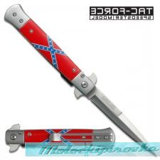 Rebel Flag Stiletto Style Spring Assist Knife