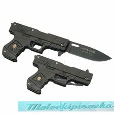 Protect and Serve Gun Shape Spring Assist Knife