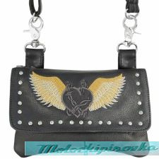 Xelement Motorcycle Womens Barbwire Winged Heart Leather Belt Bag with Chrome Studs