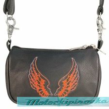 Xelement Motorcycle Womens Embroidered Angel Wings Leather Belt Bag