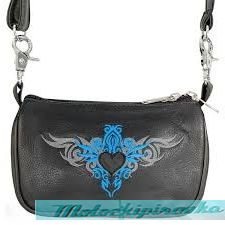 Xelement Motorcycle Womens Embroidered Teal Tribal Heart Leather Belt Bag