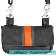 Xelement Motorcycle Womens Rally Racing Orange Stripe Leather Belt Bag