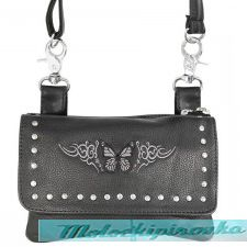 Xelement Motorcycle Womens Tribal Butterfly Leather Belt Bag with Chrome Studs