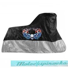 Xelement Premium Black or Silver Motorcycle Cover with Skull and Wing Graphics