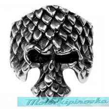 Mens Stainless Steel Scale Skull Ring