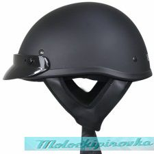 DOT Solid Flat Black Half Helmet