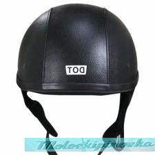 Dark Rider Black-Leather Half Helmet with 3-Snap Visor