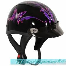 Outlaw T-70 Purple Butterfly Glossy Motorcycle Half Helmet