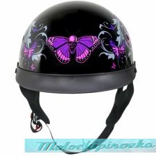 Outlaw T-72 Dual-Visor Glossy Motorcycle Half Helmet with Graphics of Flowers and Pink Skull Butterflies