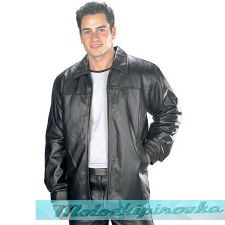 Black Classic Hip Length Zipper Leather Jacket