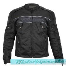 Mens Tri-Tex Fabric and Leather Level-3 Armored Motorcycle Jacket