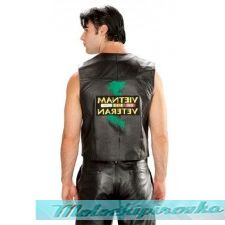 Mens Patriotic Vietnam Leather Vest