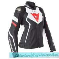 DAINESE AVRO 4 LADY LEATHER JACKET - BLACK-MATT/WHITE/FLUO-RED куртка кож жен 38
