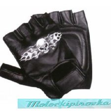 Leather Fingerless Gloves with Skull