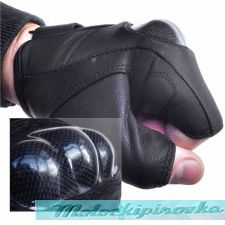 Men's Leather Knuckle Protected Riding Fingerless Gloves