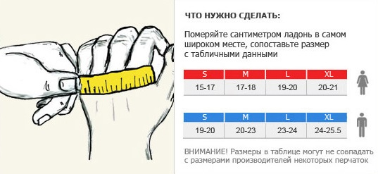 размер женских мотоперчаток